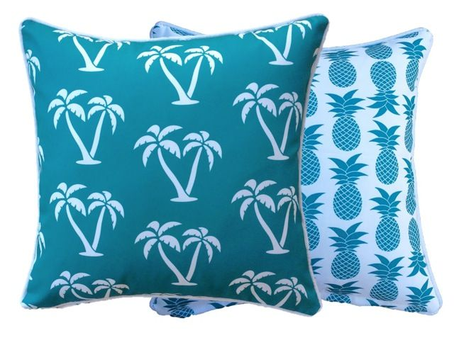 #BrightAqua #Green #OutdoorCushions by #BeachAbodeLiving #Palmtrees #Pineapples #Palmapple www.beachabodeliving.com.au
