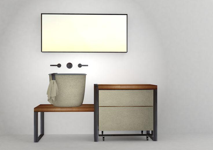 Collezione I Catini, consolle Le Conche design Vincenzo Catoio, anticipazioni Salone del Bagno 2014