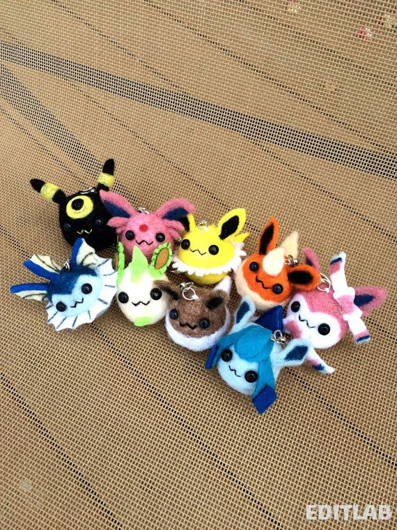 Needle Felted Eeveelution Pokemon Charms  Mini by TamashiOhana