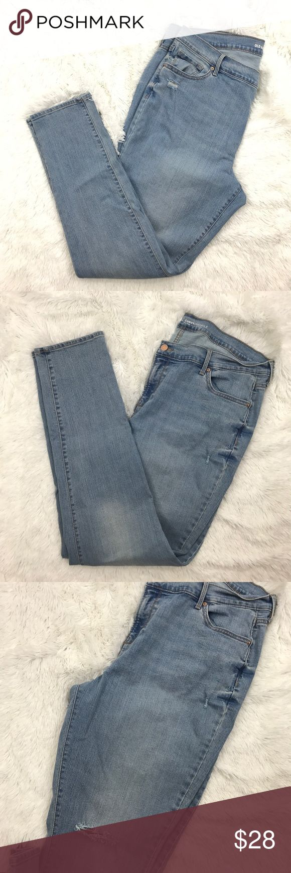 "Old Navy Curvy mid rise skinny jeans Sz 18L 349 Old Navy Light Wash Distressed Skinny Denim Jeans Curvy Profile Sz 18 Long   Measurements: Waist:  20.5""  Flat Across  Rise:  11.5""  Long Inseam:  32.5""  Long  In good preowned condition with no known flaws and light overall wear. Old Navy Jeans Skinny"