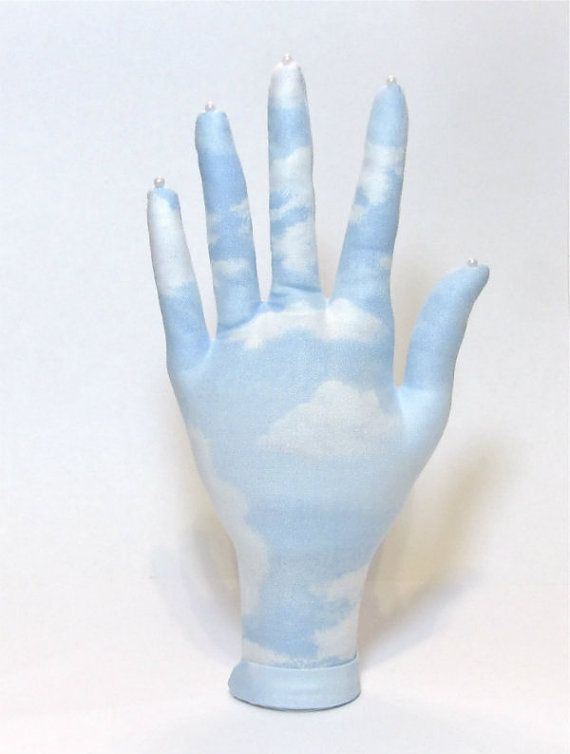 Blue Sky Soft Clouds Fabric Hand Jewelry Display by pierrmorgan