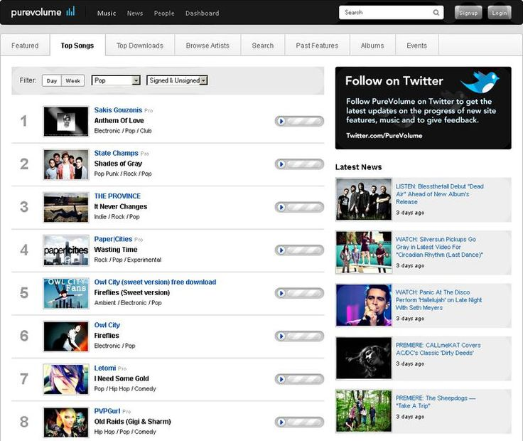 PureVolume: Free And Legal Music Downloads