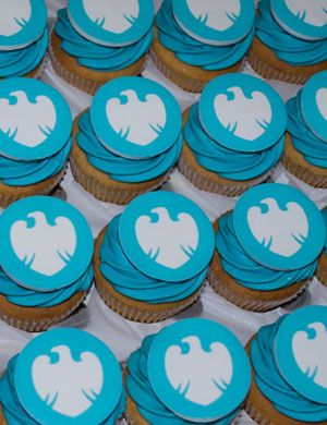 Edible Ink Barclays Corporate Cupcakes #yummy #blue #cupcakes #banking http://homecupcakebusiness.co.uk/edible-ink-printer-for-cupcake-business/