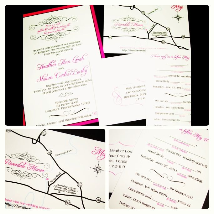 Add some fun to your #weddinginvitations with a whimsical custom drawn map card or funny #mad-lib style reply card or both! | www.InvitationsByChrissy.com | hot pink, black and white wedding #invitation featuring #flourishes