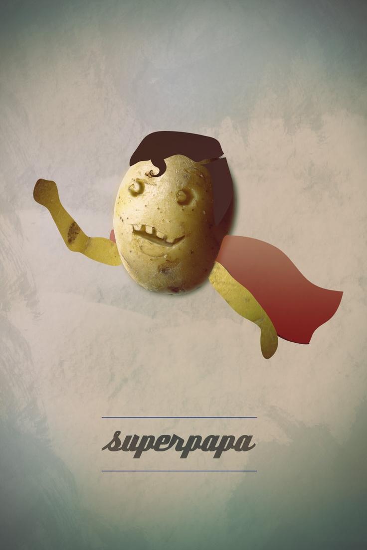 Postcard: SUPERPAPA  {  Potato superhero } #Vectorial illustration