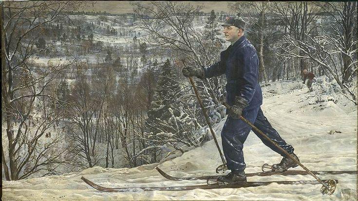 """Исаак Бродский. """"Портрет Ворошилова на лыжной прогулке"""""""