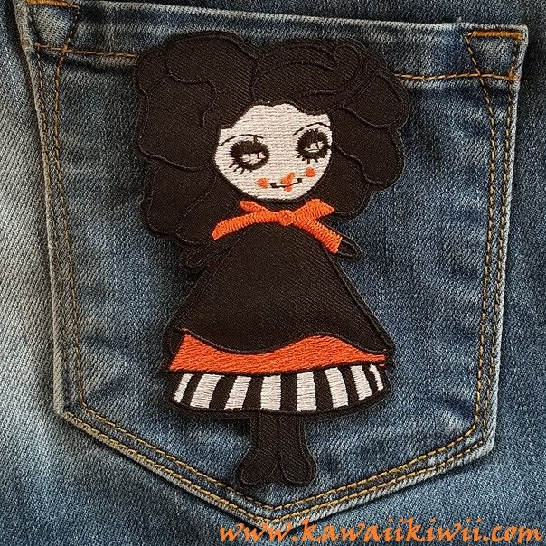 Killer Dolly Zombie Girl. Super cute in a gothic lolita dolly style. But don't let that fool you, she has some dangerous impulses under that innocent smile!  Iron on patches, badges, pins from anime, sci-fi, fantasy, TV series, movies and more. From www.kawaiikiwii.com