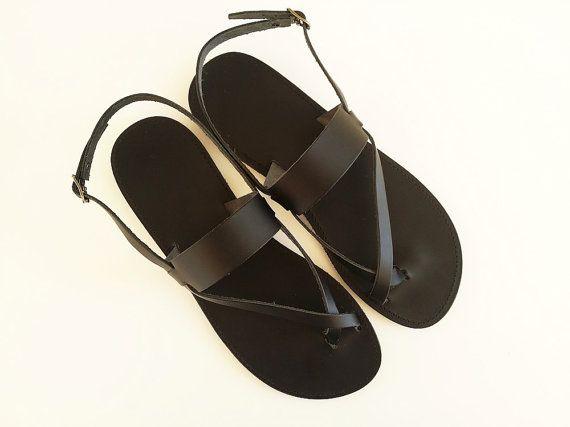 Men Leather Sandal-Black Toe Ring Ancient Greek Sandal