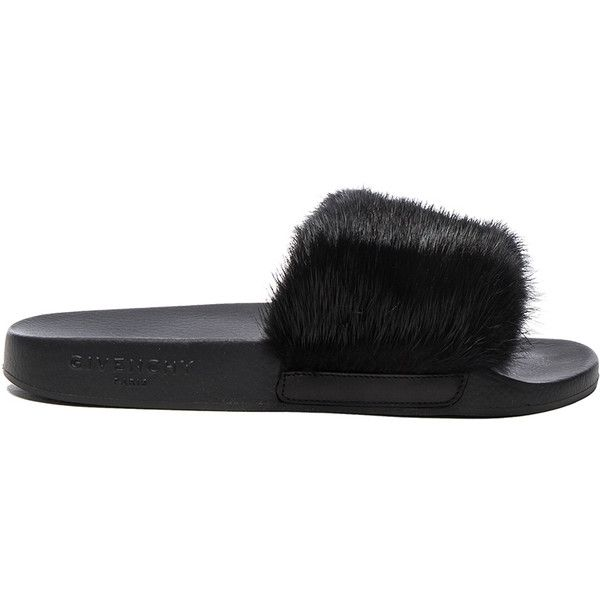 Givenchy Mink Fur Slides ($610) ❤ liked on Polyvore featuring shoes, heels, rubber sole shoes, givenchy shoes, mink shoes and givenchy