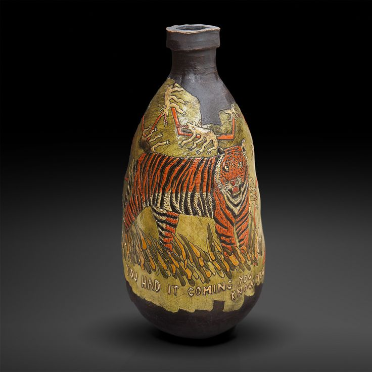 An original vase by Lucinda Mudge entitled: You Had It Coming You Know You Did, ceramic / gold luster, h 49cm For more please visit www.finearts.co.za