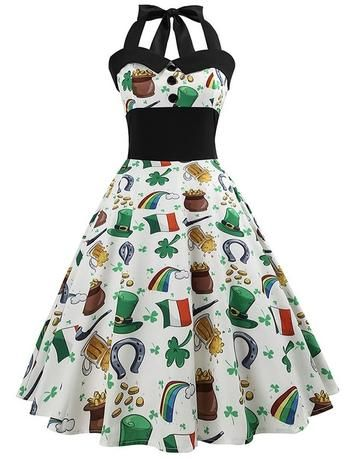 White Retro Irish Shamrock Print Halter Vintage Rockabilly Dress ... 97145122166a