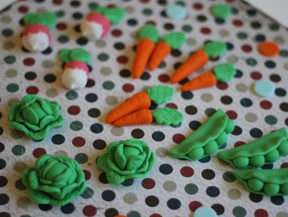 Whimsical Peter Rabbit Vegetable Garden Fondant Toppers - Perfect for Cookies, Cupcakes and Other Edible Treats on Etsy, $21.99