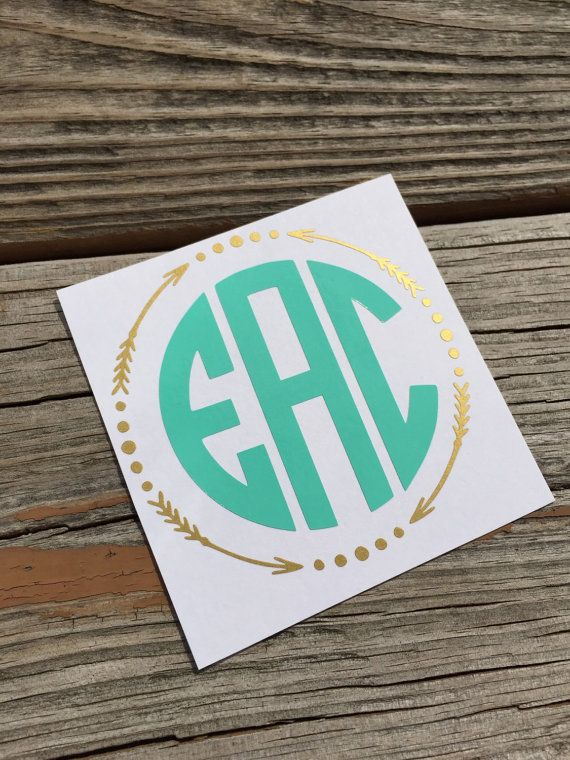 Two color monogram decal arrow circle monogram decal yeti cup decal laptop decal car decal custom sticker personalized monogram