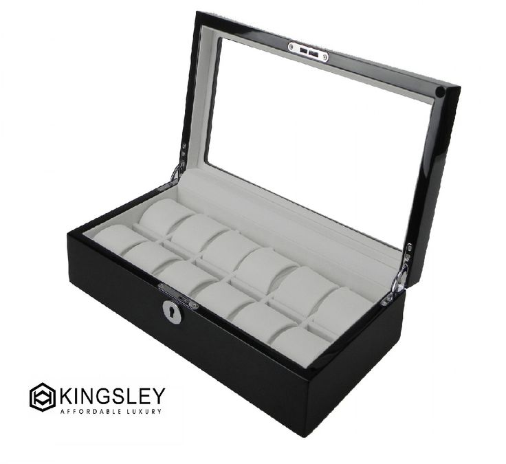 Kingsley high gloss piano paint black wooden luxury watch case display Watch Box  $189.95  Size: 34.5*18.5*9.0cm Exclusive brand, absolutely luxury looking Multi-layers of polyurethane lack high gloss piano finished for long lasting durability and beauty b Made of solid timber and glossy silver hardware Store up to 12 watches Crystal Clear glass top brilliant Soft velvet