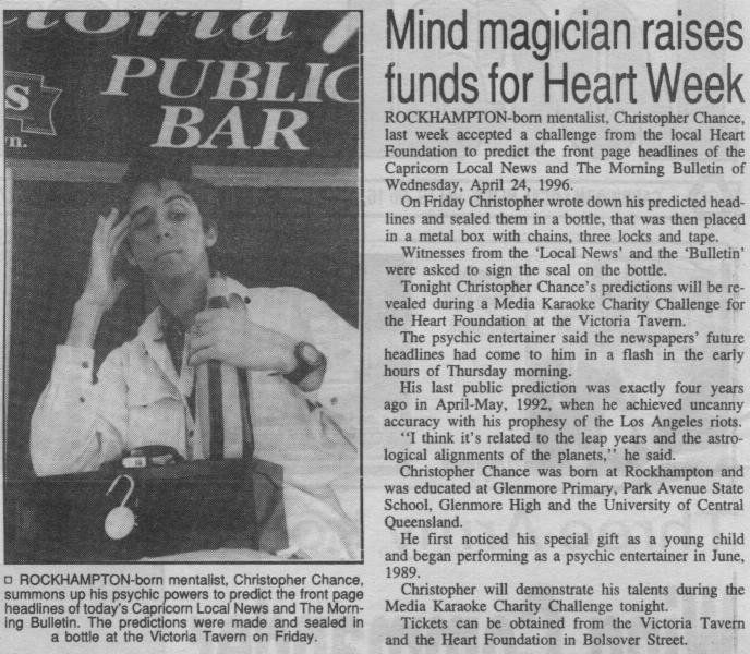 Mentalist predicts newspaper headline a week before the event, in aid of charity