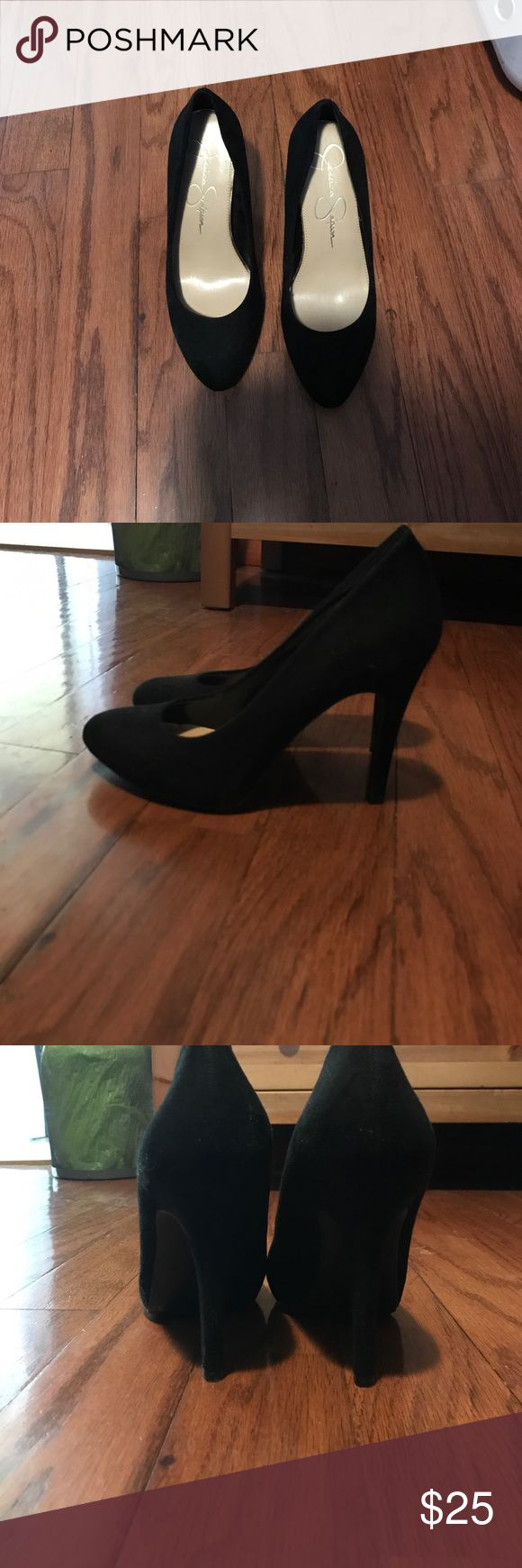 Black pumps Black suede pumps worn once for New Years.basically from car to entrance of home because they didn't allow shoes.. Jessica Simpson Shoes Heels