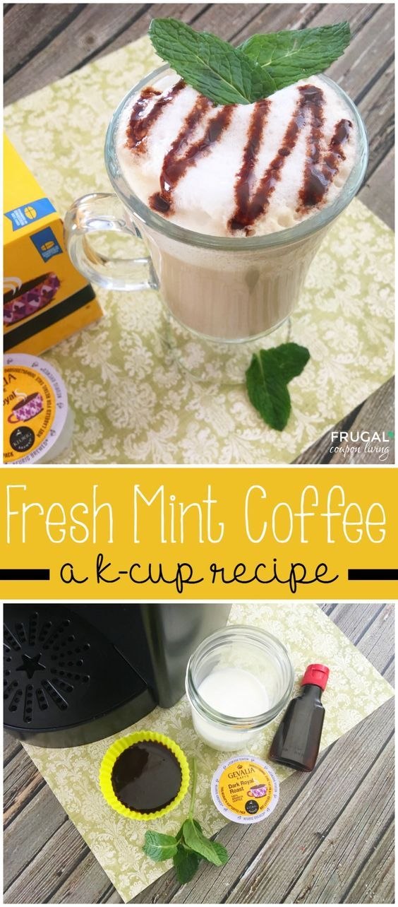 Fresh Mint Coffee K-Cup Recipe using a dark roast K-Cup and Mint Leaves. Recipe on Frugal Coupon Living.