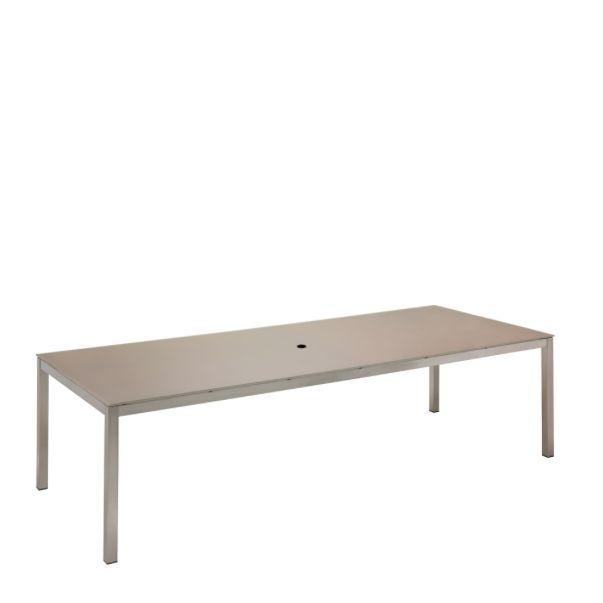 Kore Medium Rectangular Dining Table Electropolished Frame / Taupe HPL Top