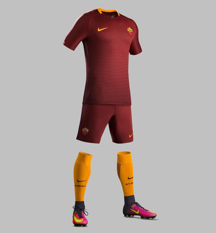 The AS Roma 16-17 kit is made by Nike and combines two shades of red with subtle orange detailing to create a unique and powerful design.