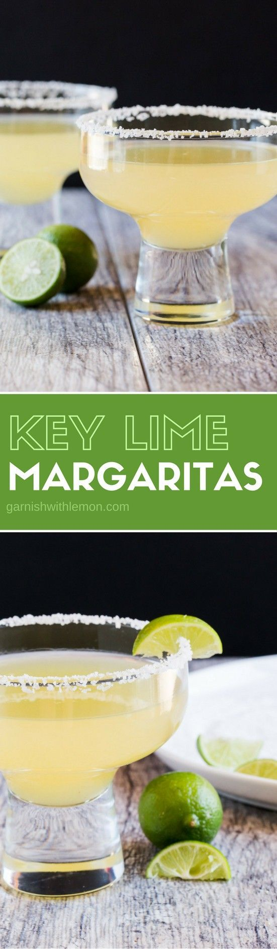 You only need 4 ingredients to be transported to the tropics! These Key Lime Margaritas are our new favorite tequila drink! #margaritas #tequila #cocktails #drinks