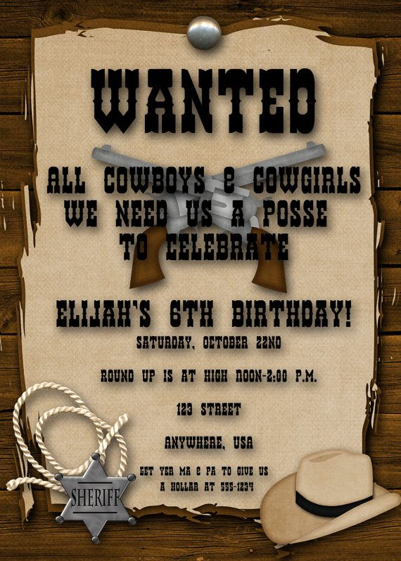 best bents rd roping cowboy birthday images on pinterest western themed birthday party invitations - Cowboy Party Invitations