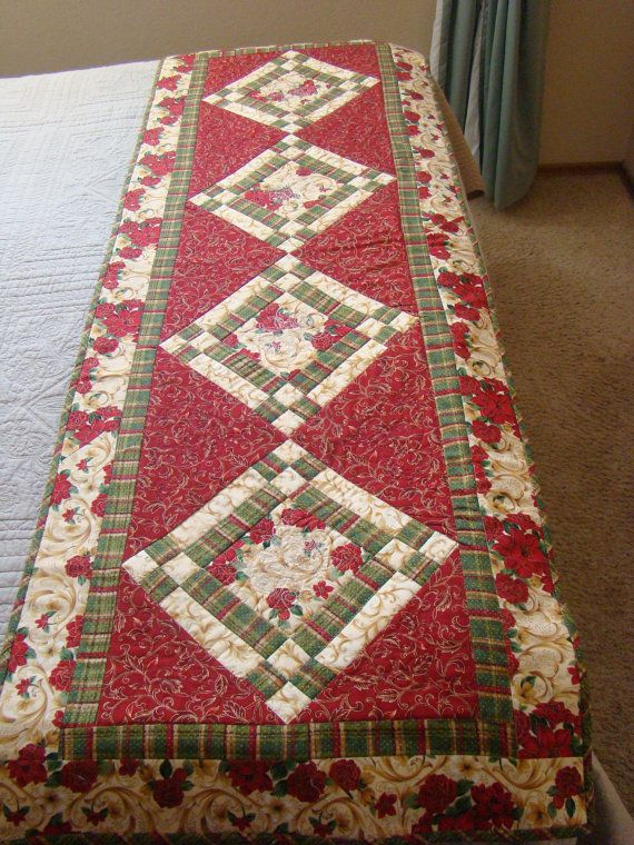 Christmas Bed Runner or large table runner by DesignsbyBJ on Etsy