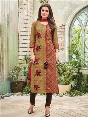 Embroidered Churidar Suit with Fancy Broach