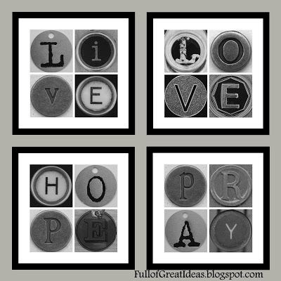 Full of Great Ideas: Live, Love, Hope, Pray, Home and Bath Art - Free Printable