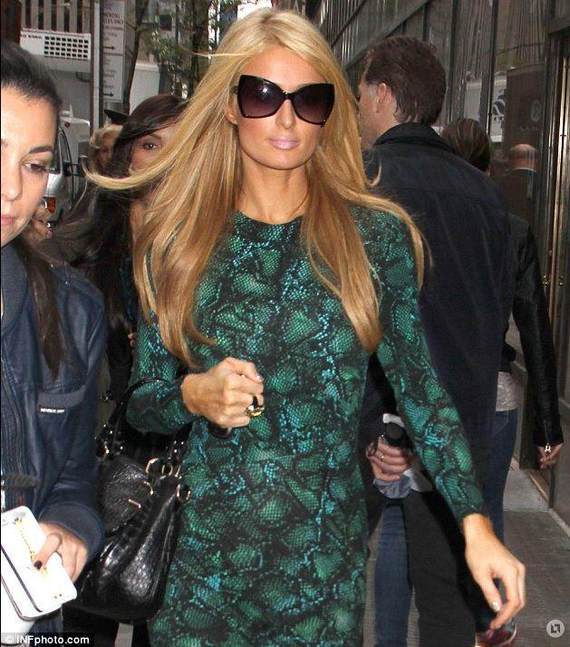 Paris Hilton's Snake Print Dress | Big Blonde Hair : Big Blonde Hair Details: http://www.bigblondehair.com/reality-tv/paris-hiltons-snake-print-dress/