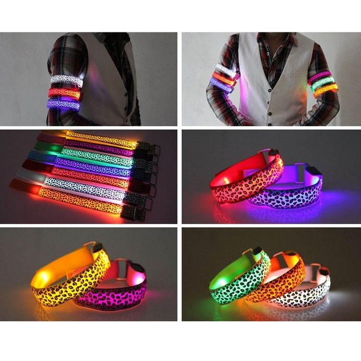 Reflective Flashing LED Glow Armband Wrist Visible Belt Strap for Cycling, wheelchair use, etc.