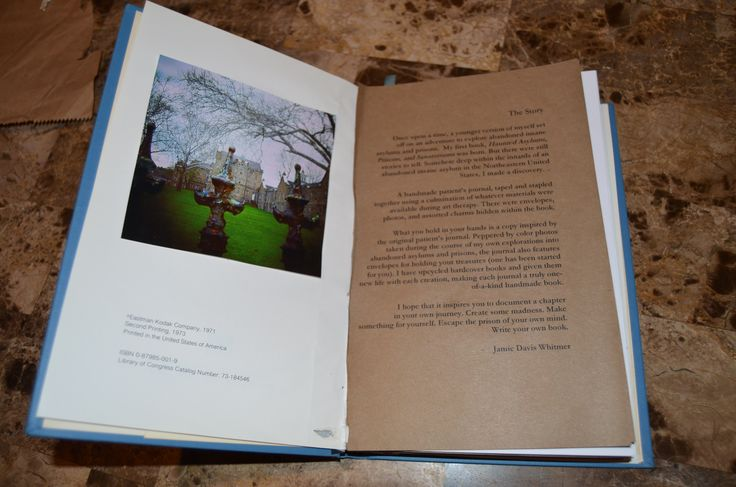 """Handcrafted """"Haunted Asylums"""" journal with interior photo and story printed."""