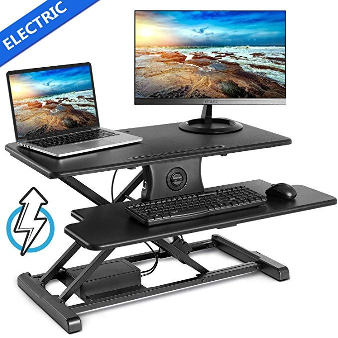 Eletab Electric Height Adjustable Standing Desk Converter Sit To