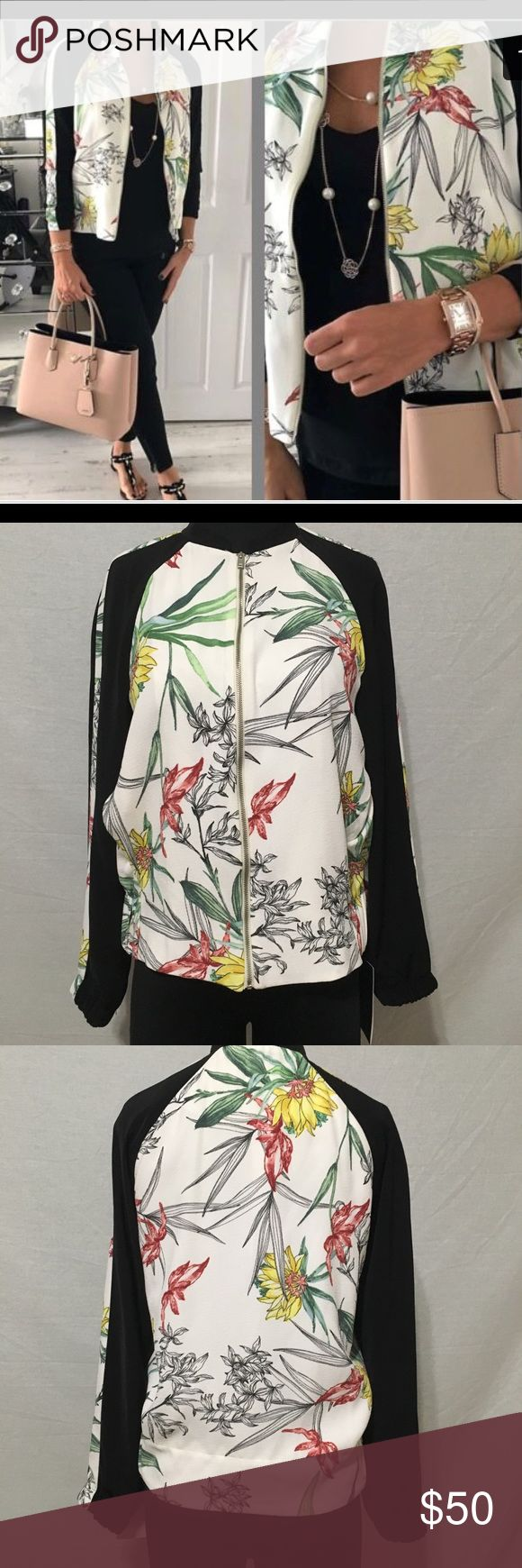 Zara Floral Printed Bomber Jacket- New New with tags Size XS Color- Off white  - Floral Print - Zip Front - Bomber style Zara Jackets & Coats