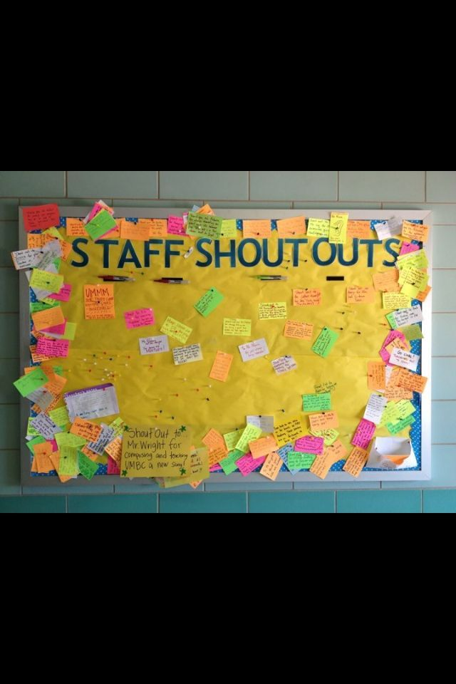 Great idea to do in the classroom with student shoutouts - Staff Shoutouts Bulletin Board - Great way to boost morale!