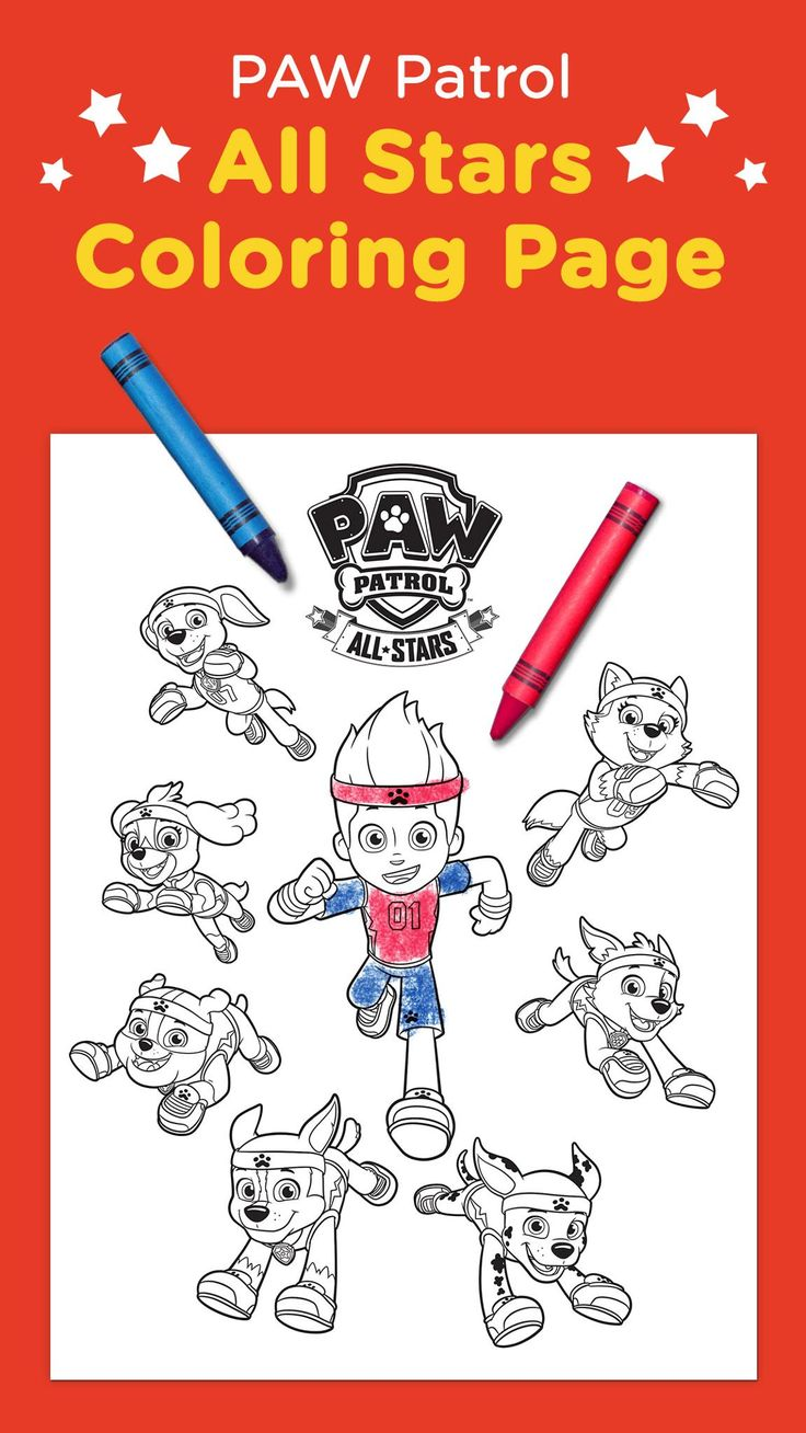 Paw patrol coloring pages aspca - Paw Patrol All Stars Coloring Page