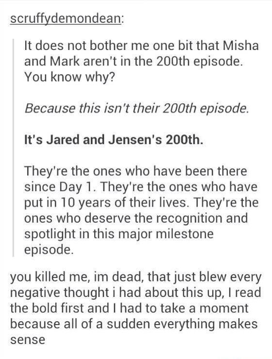 Yeah. Its doesn't bother me at all because when it comes down to it this show is about Dean and Sam