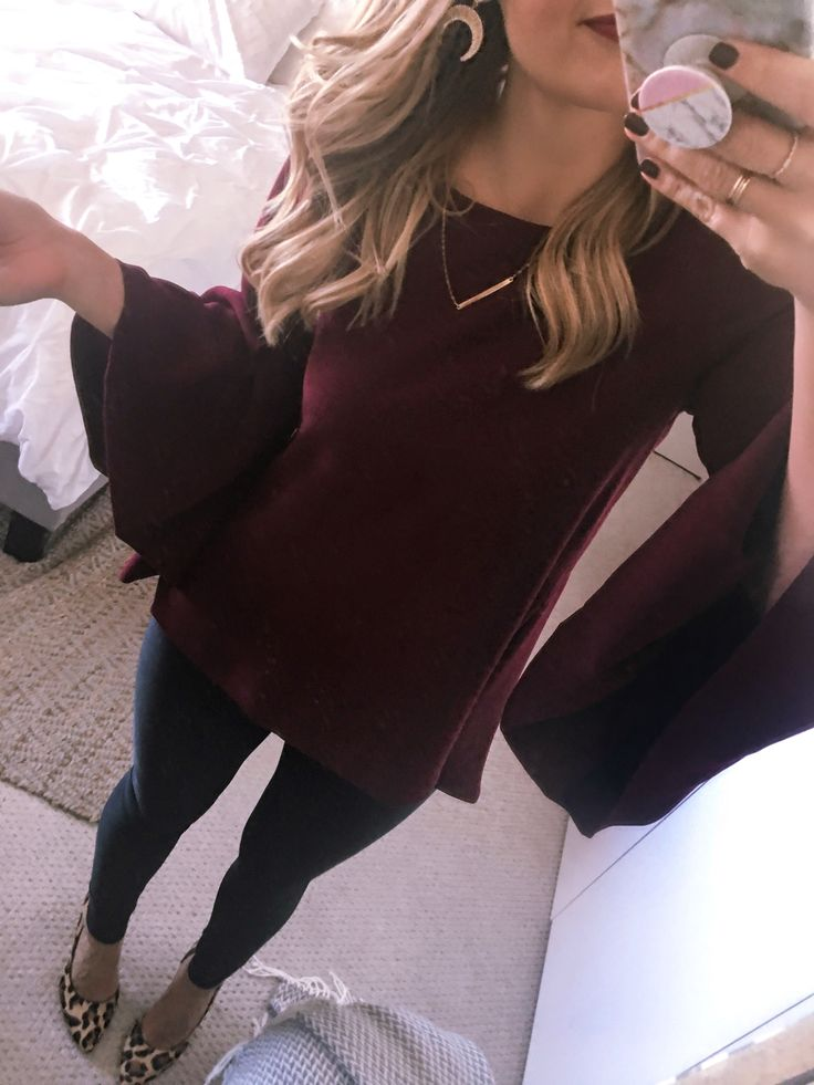 Hello gorgeous! I am DYING over this burgundy bell sleeve top for the office! It's such a statement piece without being too far outside your comfort zone! Visions of Vogue #OOTD #officefashion