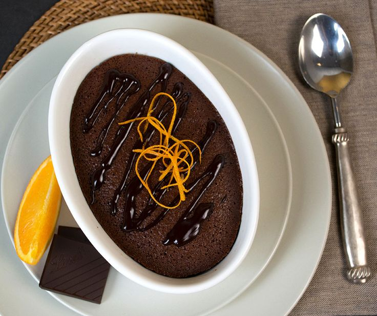 Orange Delicious Pudding | A rich, moist celebration of the classic combination of orange and Lindt Excellence 70% Chocolate