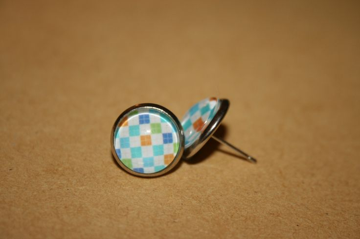 Rainbow Gingham Earrings 12mm - Stud, Dangle or Lever Back - Silver - Multi Color, Colour, Rainbow - Squares, Checks - pinned by pin4etsy.com
