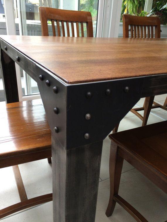 Mesa de metal y de madera por RevesdInterieurCASF en Etsy