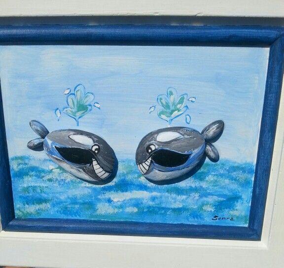 Taş boyama balinalar