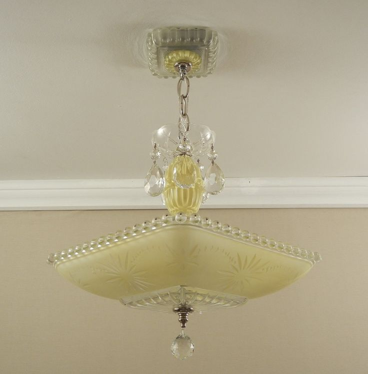 Vintage Chandelier American Art Deco YELLOW by