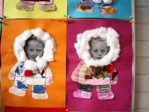 Eskimo avec un coloriage, du coton et une photo de l'enfant