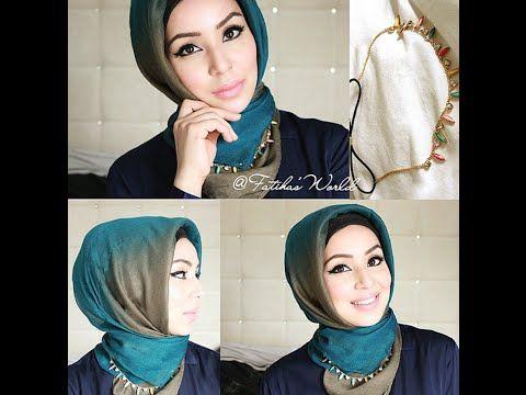 Turkish style with border/bridal turkish hijab by fatihasWORLD - YouTube