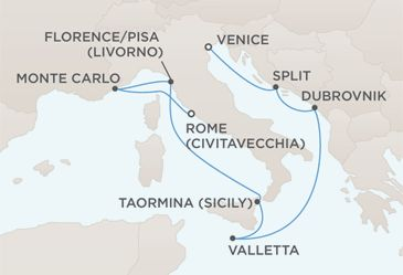 Route  Venice to Rome (Civitavecchia)        * Jewels of the Mediterranean      * on Seven Seas Mariner      * 10 Nights - Departs Nov 10, 2011      *        Starting at $5,799    Special Offer! See Details    Cruise Reference #: MAR111110  Options  51Share        * Request a Quote      * Find a Travel Agent      * New Search      * Save Cruise      * Reserve Cruise      * Previous Cruise      * Next Cruise             * Itinerary      *  Ship      *  Onboard Activities      *  Ports…
