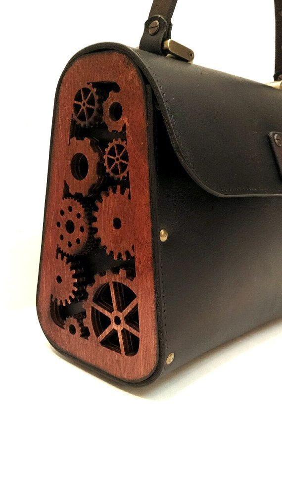 Leather wood bag steampunk unreal unique women bag by AnaelLeather
