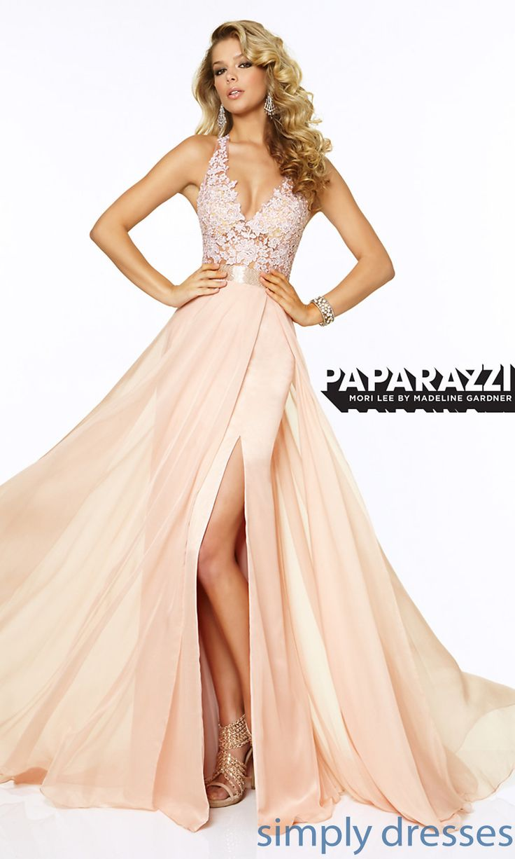 Shop SimplyDresses for full length V-neck prom dresses and prom gowns with lace. Mori Lee lace prom gown and long V-neck formal dresses for prom.