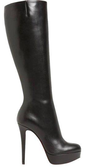 67a930cc541 CHRISTIAN LOUBOUTIN Bianca Botta Black Leather Platform Over The Knee Boots  140 High Heel 7.5-