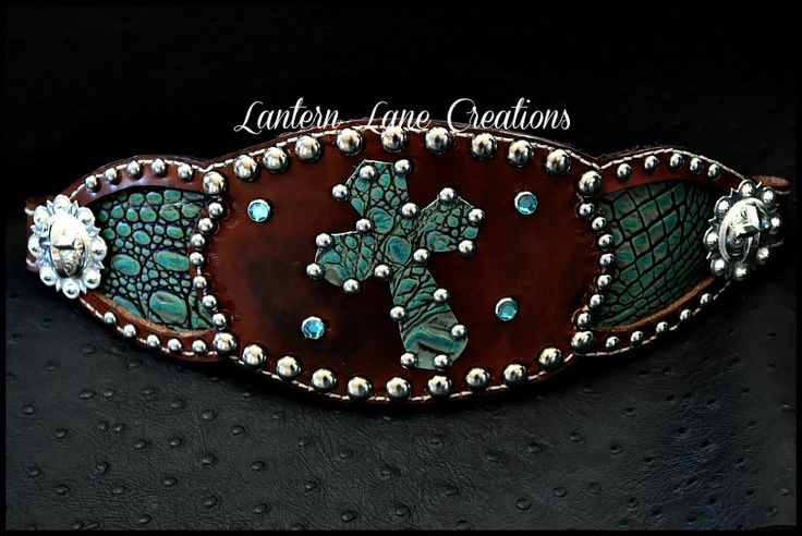 Distressed leather bronc noseband  antique croc inlay and cross. So want this!!!!