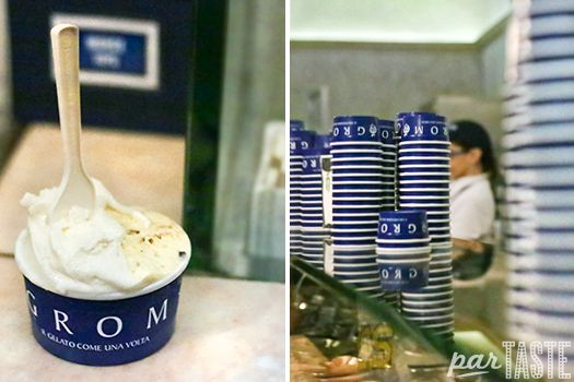 Delicious gelato from Grom gelateria in Florence, Italy